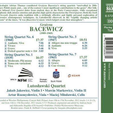 Grazyna Bacewicz (Гражина Бацевич): String Quartets 1: Nos. 1, 3, 6 And 7