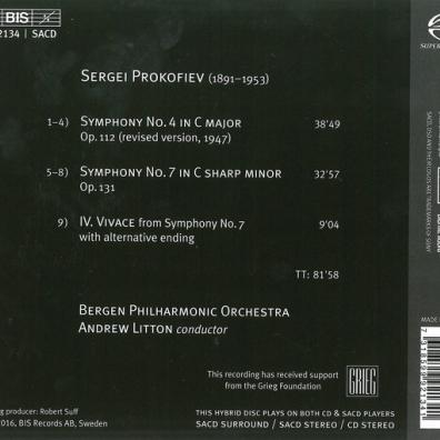 Bergen Philharmonic Orchestra (Бергенский филармонический оркестр): Prokofiev: Symphonies Nos. 4 & 7