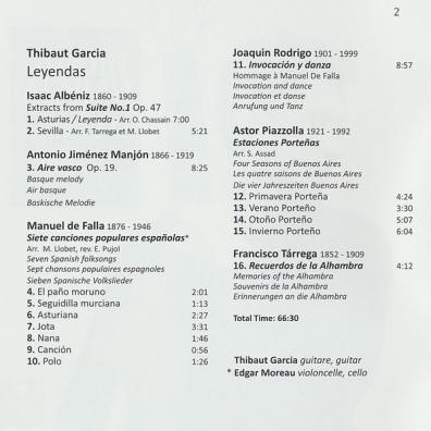 Leyendas - Works For Solo Guitar By Albeniz, Falla, Rodrigo, Tarrega, Manjon And Piazzolla