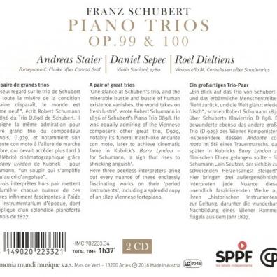 Schubert / Piano Trios Opp. 99 & 100/D.Sepec, Violon. R.Dieltiens, A.Staier
