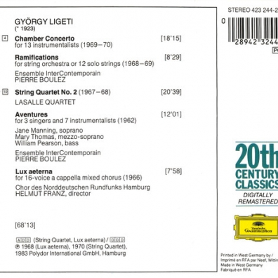 Pierre Boulez (Пьер Булез): Ligeti: Chamber Concerto; Ramifications