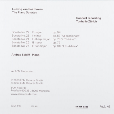 Beethoven/The Piano Sonatas Volume 6 Sonatas Opp. 54, 57, 78, 79 And 81A
